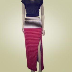 Free People High Slit Striped Skirt, Medium